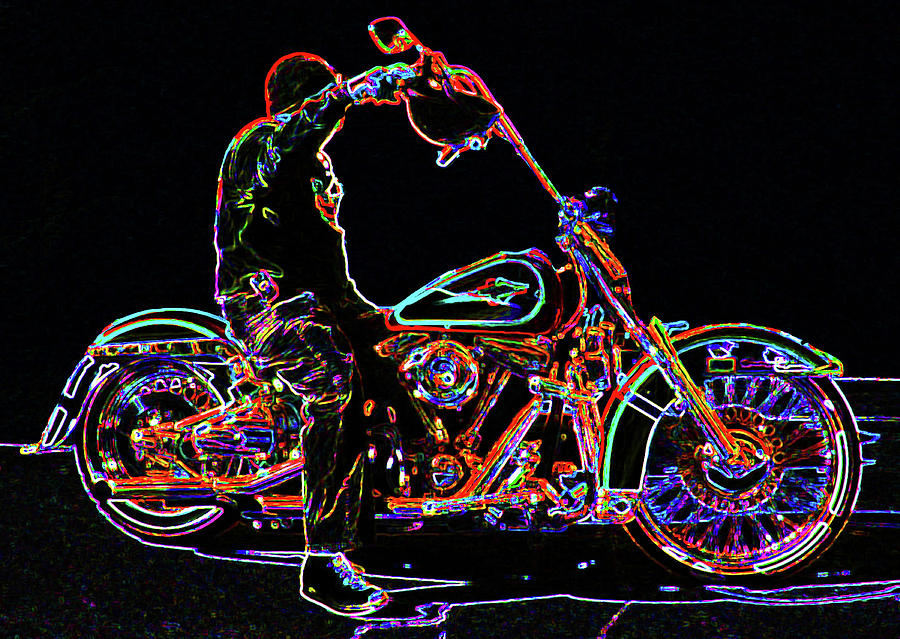Harley Photograph - Vato N Harley Aglow by Kimberley Joy Ferren