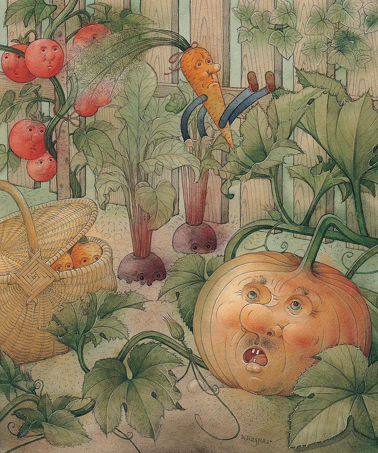 Vegetables Garden Green Autumn Kitchen Pumpkin Painting - Vegetables by Kestutis Kasparavicius