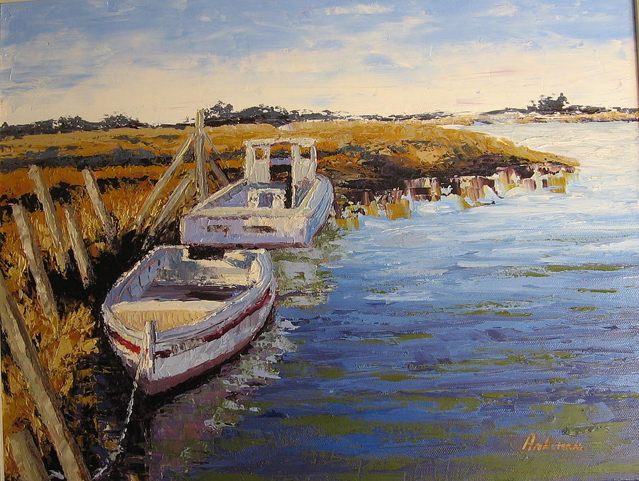 Water Painting - Veldrift Boats by Yvonne Ankerman
