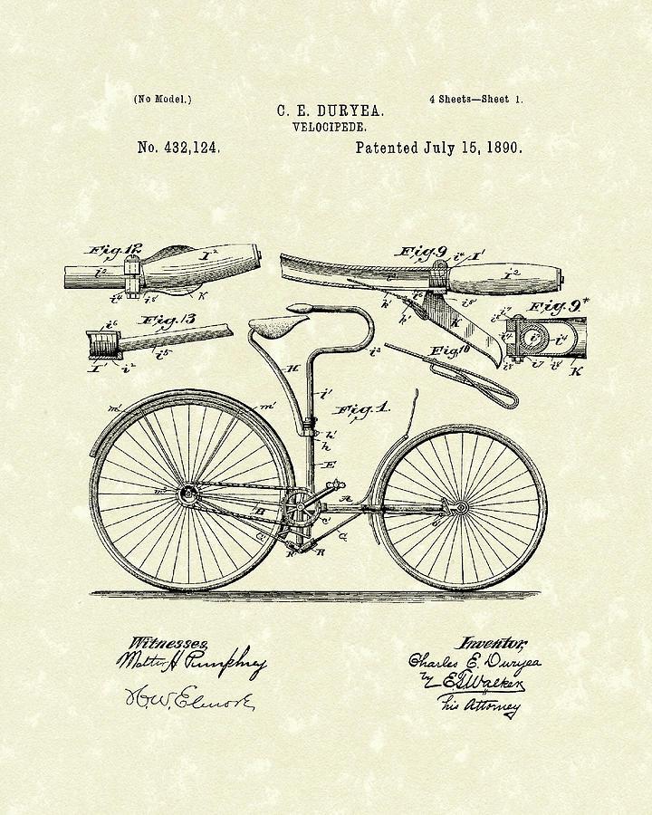 Duryea Drawing - Velocipede 1890 Patent Art by Prior Art Design