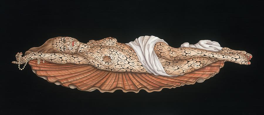 Contemporary Painting - Venus On The Half-shell by Tina Blondell