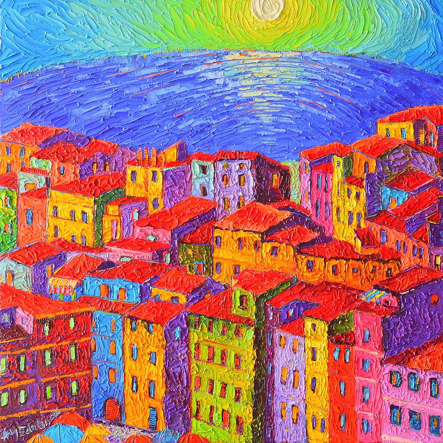 vernazza colorful houses cinque terre italy impressionist knife oil painting by ana maria edulescu ana maria edulescu