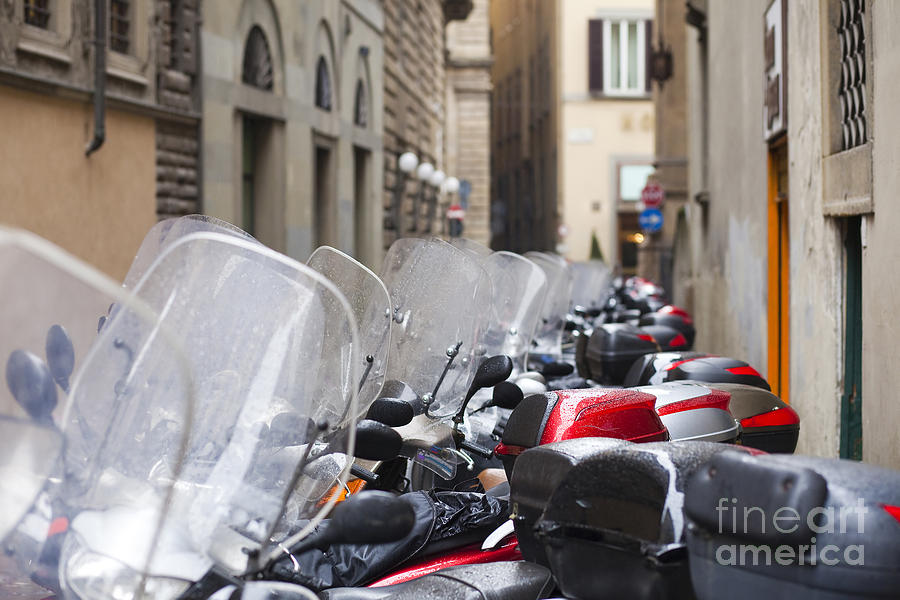 Ancient Photograph - Vespas In Florence by Andre Goncalves