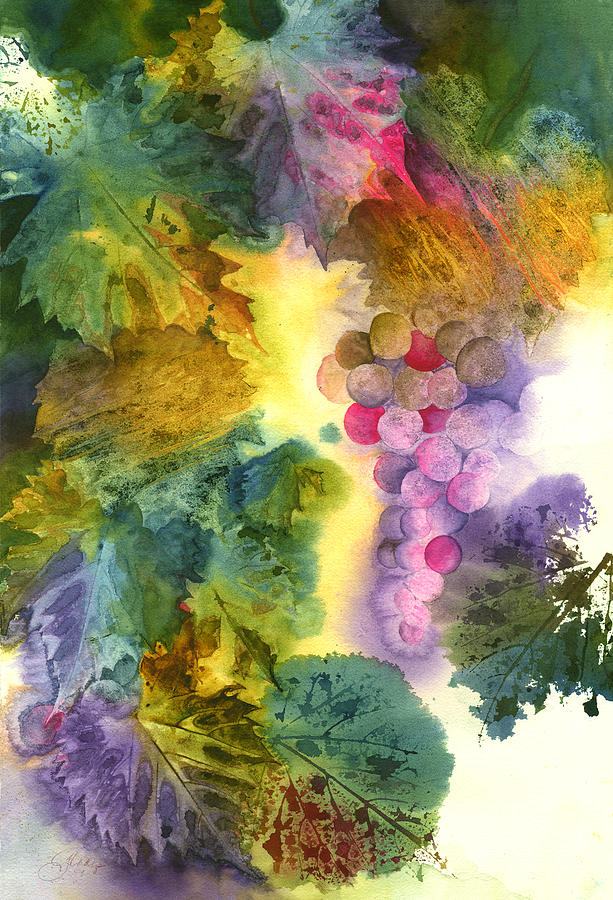 Grapes. Fruit Painting - Vibrant Grapes by Gladys Folkers