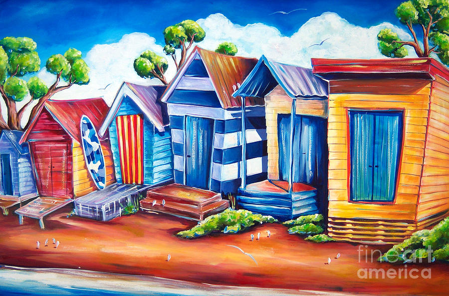 Beach Painting - Victorian Beach Huts by Deb Broughton