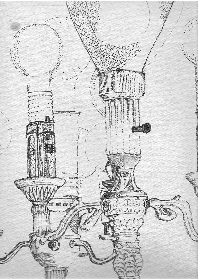 Drawing Drawing - Victorian Lamp Drawing by Ron Hayes