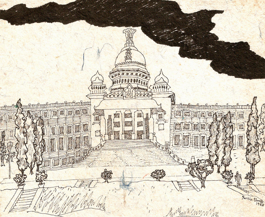 Secretariat Drawing - Vidhana Soudha by Umesh U V