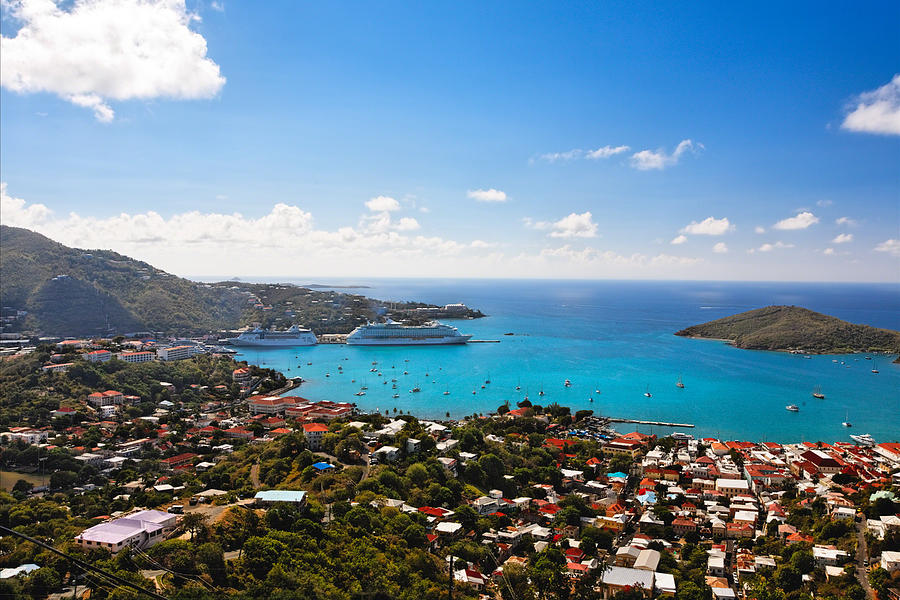 Bay Photograph - View Of Charlotte Amalie St Thomas Us Virgin Islands by George Oze