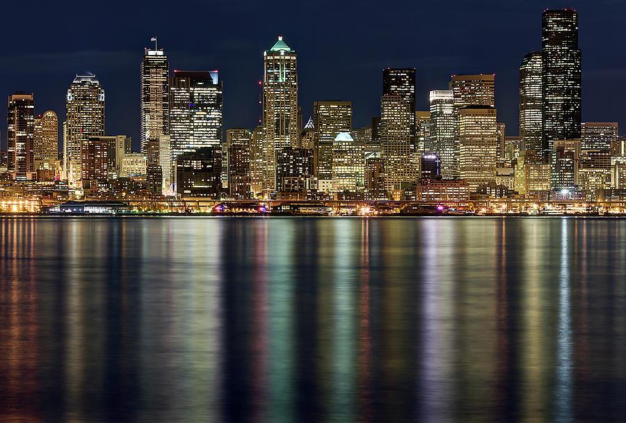 Horizontal Photograph - View Of Cityscape At Night by Stephen Kacirek