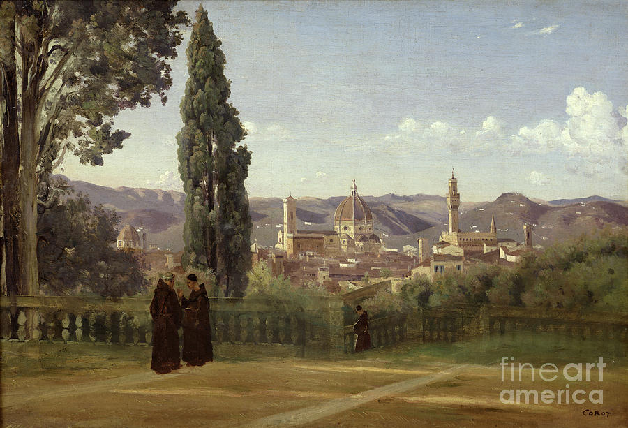 View Painting - View Of Florence From The Boboli Gardens by Jean Baptiste Camille Corot