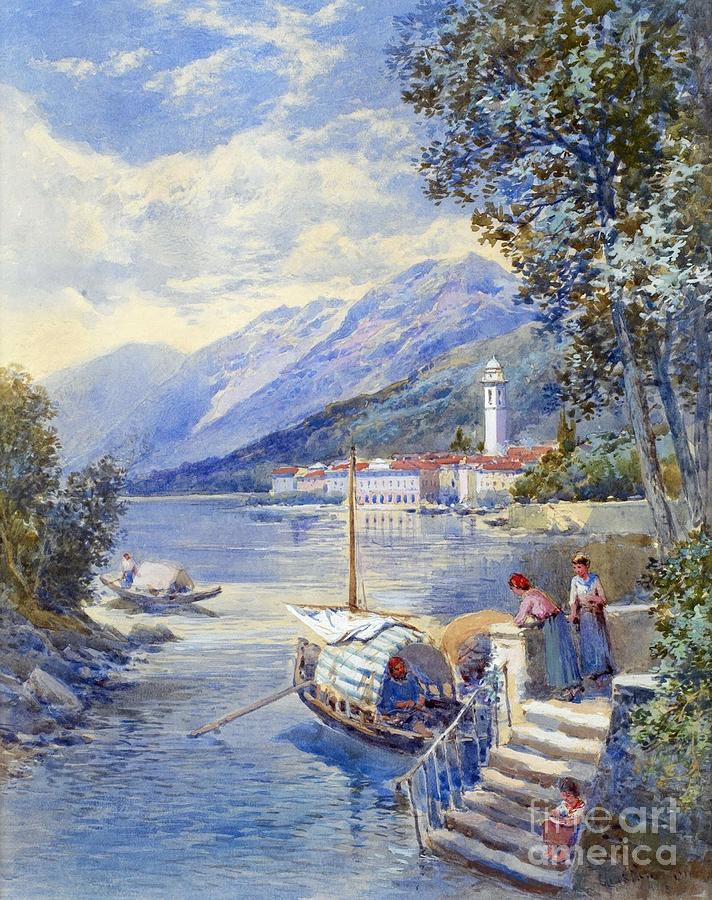View of pallanza on lago di maggiore painting by motionage for Designhotel lago maggiore