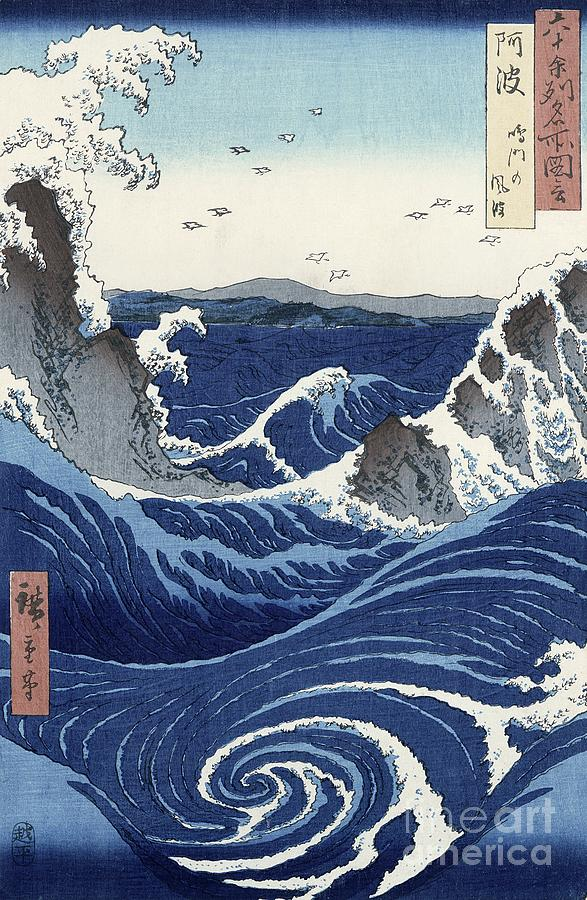 View Painting - View Of The Naruto Whirlpools At Awa by Hiroshige