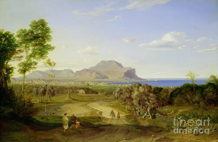 View Painting - View Over Palermo by Carl Rottmann