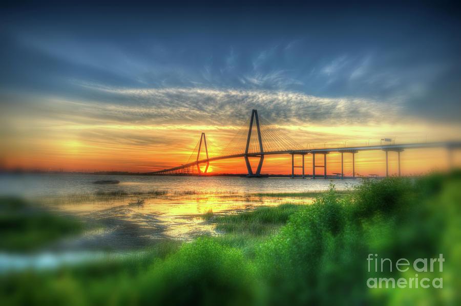 Vignette Blur Of The Ravenel Bridge Photograph