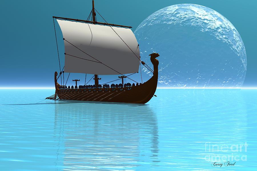 Viking Painting - Viking Ship 2 by Corey Ford