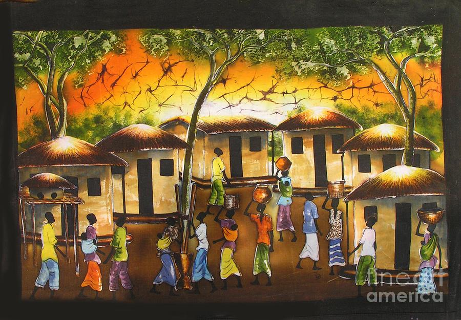 Village Scene Painting by Ted Samuel Mkoweka