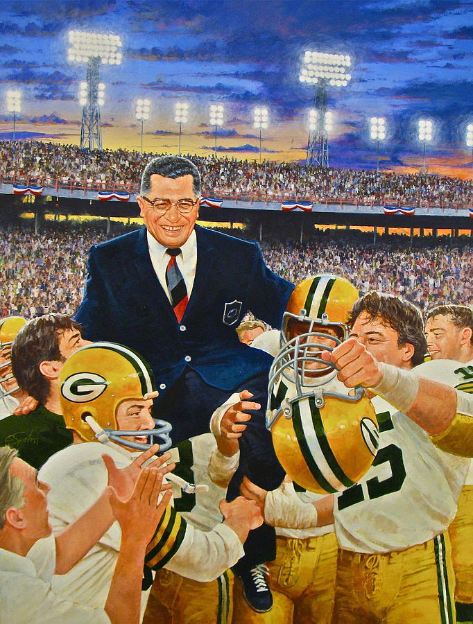 Acrylic Painting Painting - Vince Lombardi by Cliff Spohn