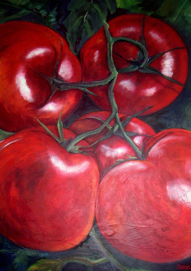 Red Tomatoes Painting - Vine Ripened by Georgia  Mansur