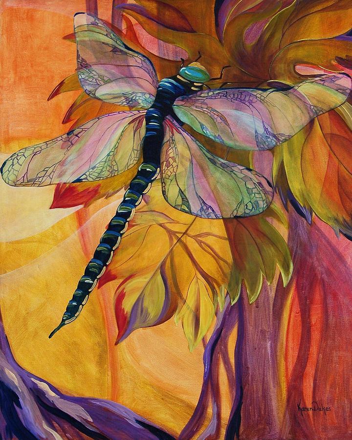 Dragonfly Painting - Vineyard Fantasy by Karen Dukes