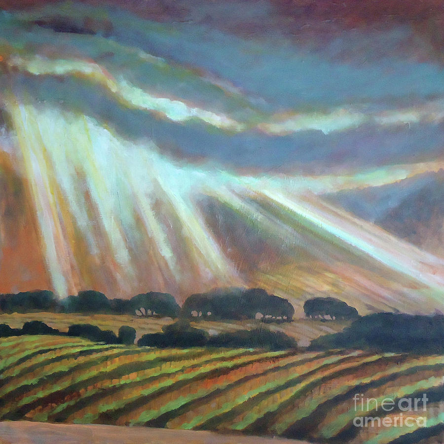 Vineyard Painting - Vineyard Rain by Kip Decker