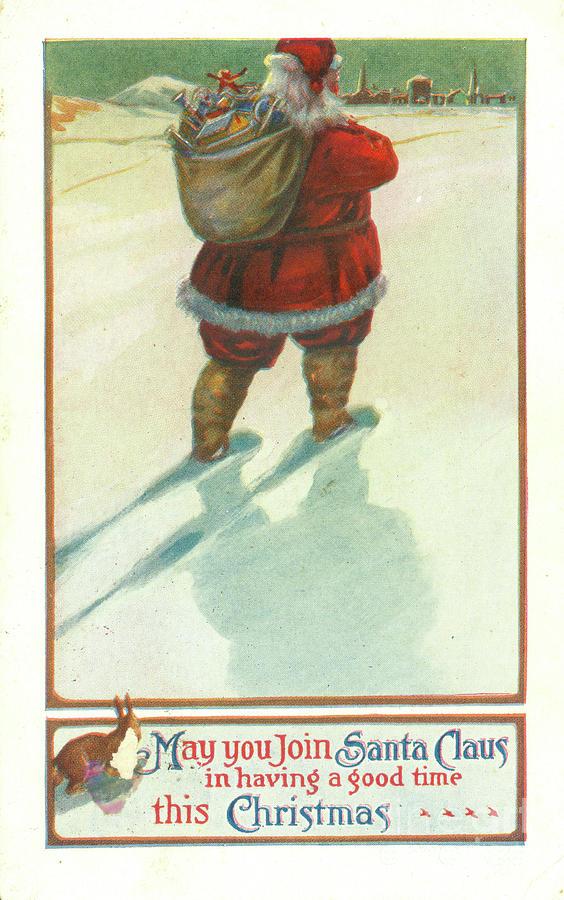 Vintage 1906 Santa Postcard Photograph