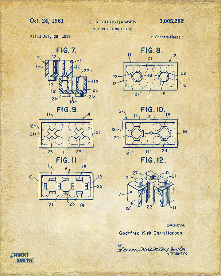 Toy Drawing - Vintage 1961 Lego Brick Patent Art by Nikki Marie Smith