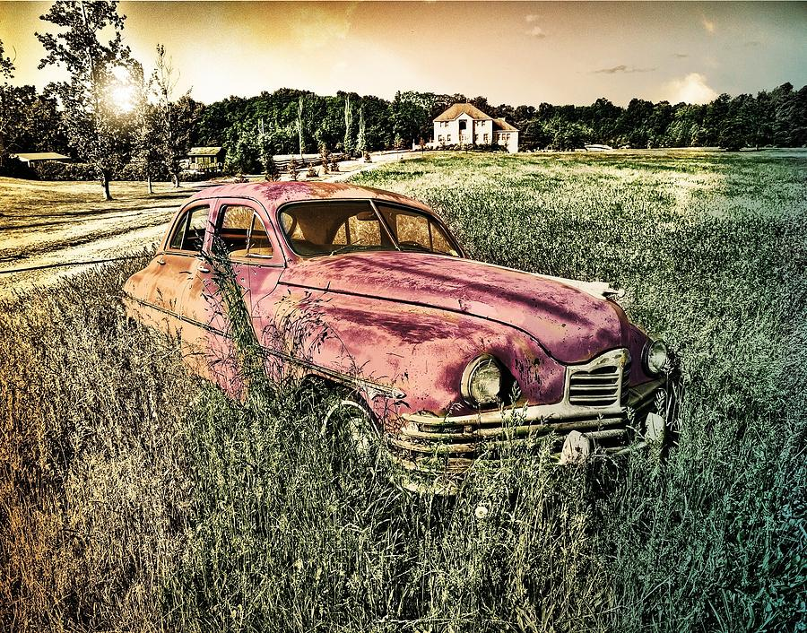 Vintage Auto In A Field Photograph