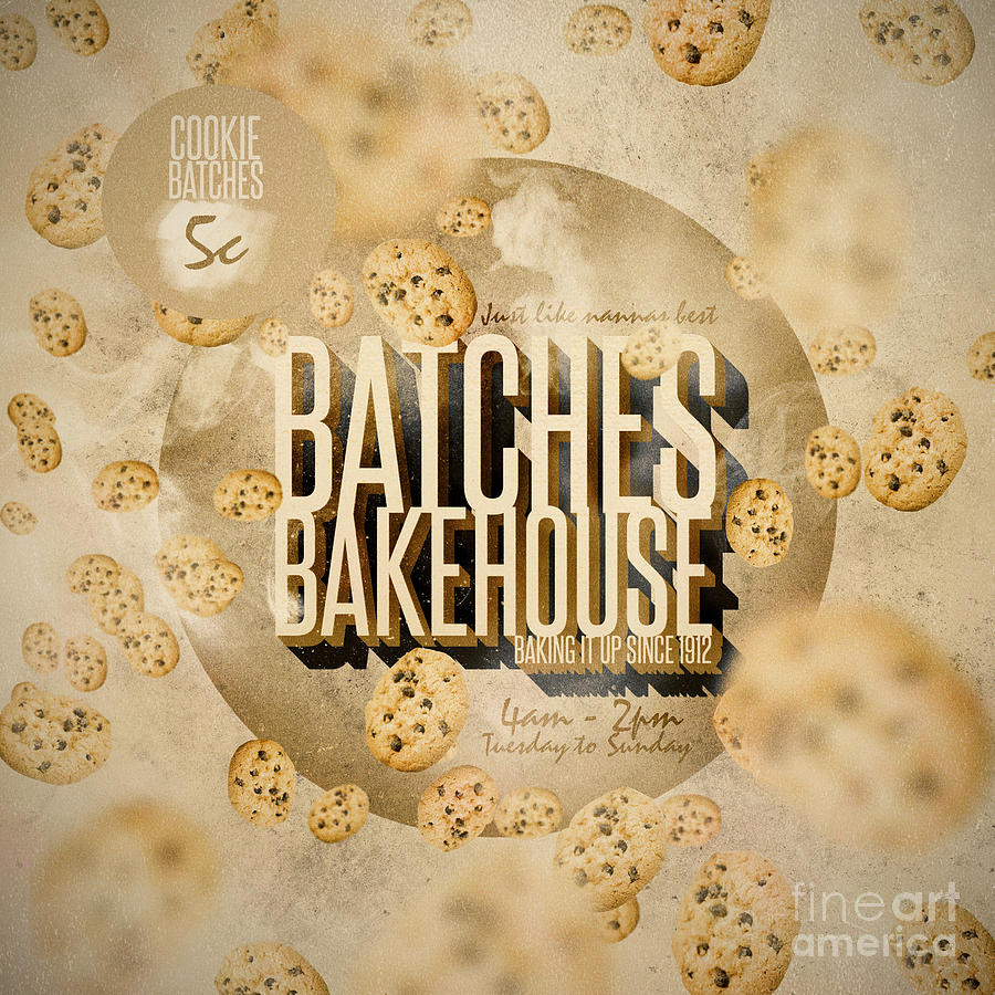 Vintage Bakery Ad - Batches Bakehouse Digital Art