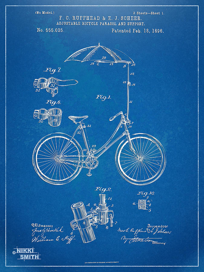Vintage Bicycle Parasol Patent Artwork 1896 Digital Art