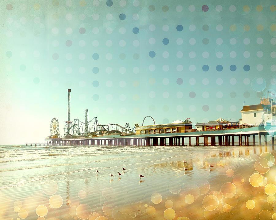 Vintage Boardwalk Seascape Digital  Photo Collage Photograph