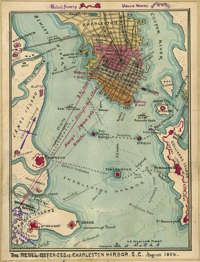 Vintage Charleston Sc Civil War Map  1865 Drawing By