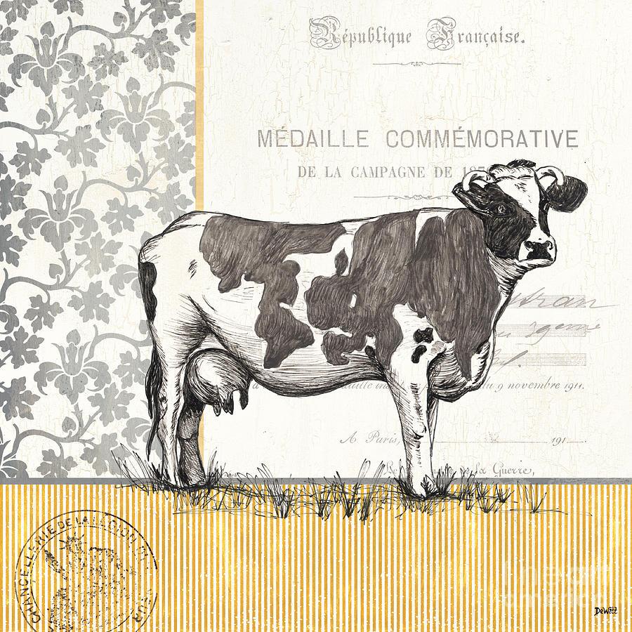 Cow Painting - Vintage Farm 4 by Debbie DeWitt