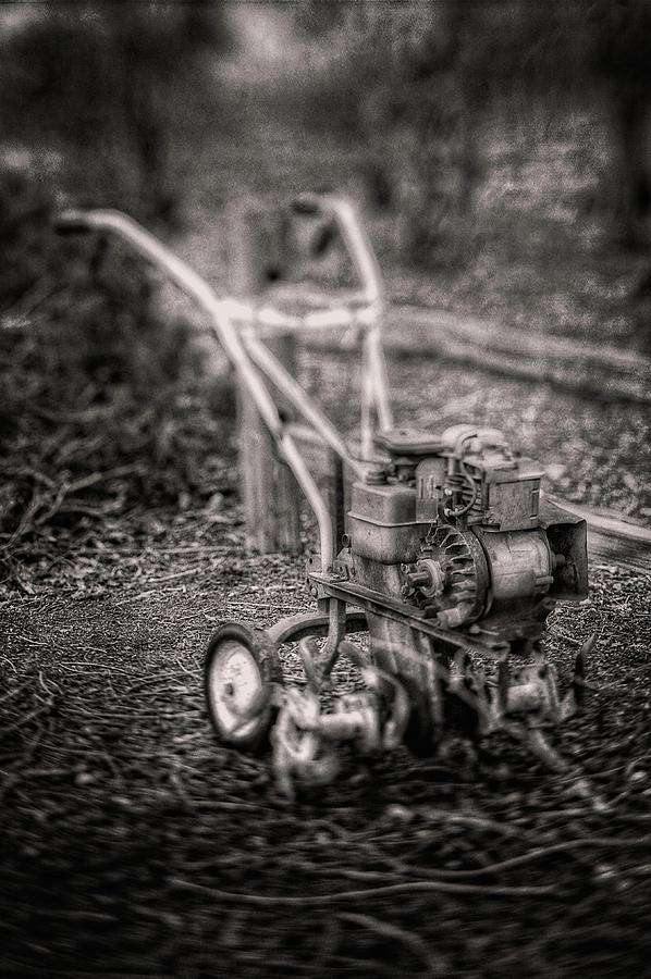 Vintage Garden Rototiller Near Split Rail Fence In Black And Whi Photograph