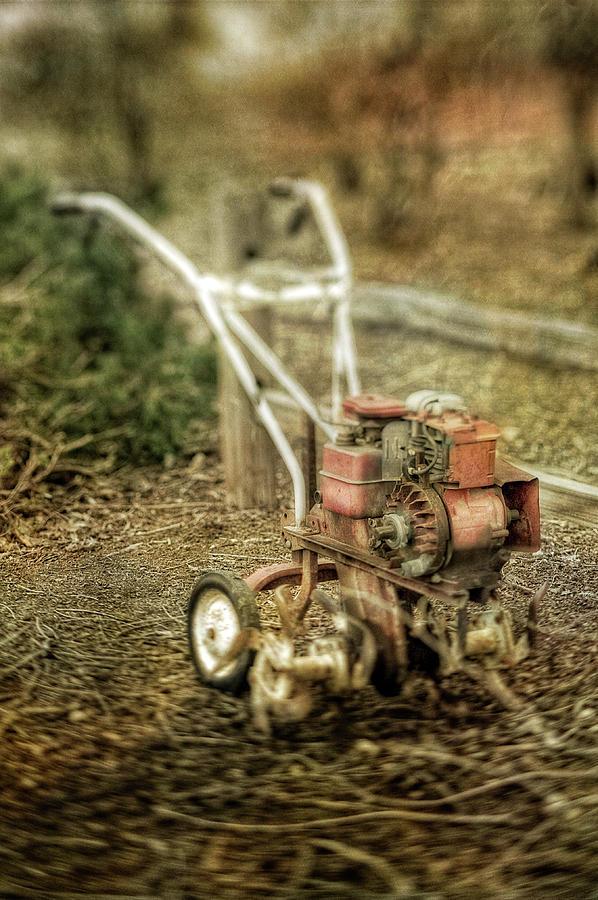 Vintage Garden Rototiller Near Split Rail Fence Photograph