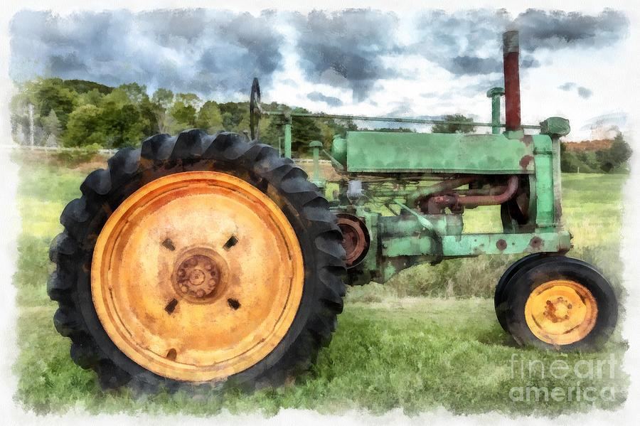 Jd Tractor Paint : Vintage john deere tractor watercolor painting by edward
