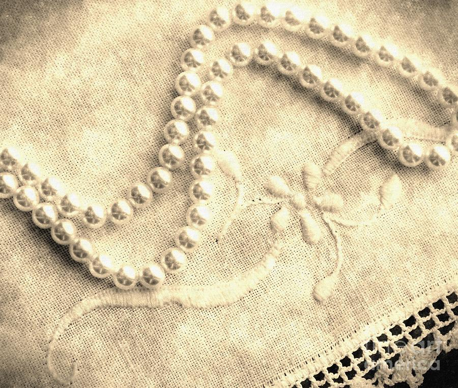 Vintage Lace And Pearls Photograph