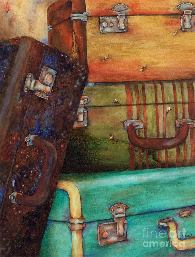 Vintage Painting - Vintage Luggage by Winona Steunenberg