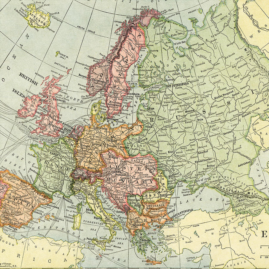 Vintage Map Europe Photograph