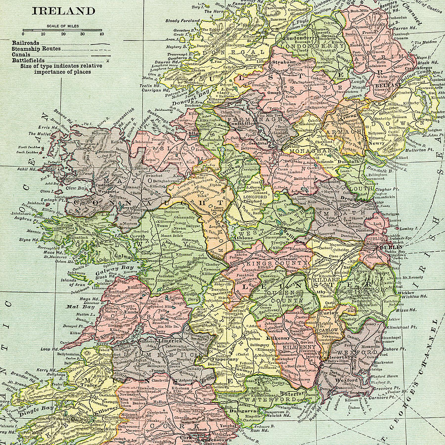 Vintage Map Ireland Photograph