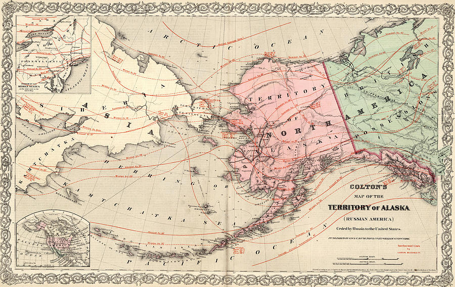 Vintage Map Of Alaska And Russia Drawing By