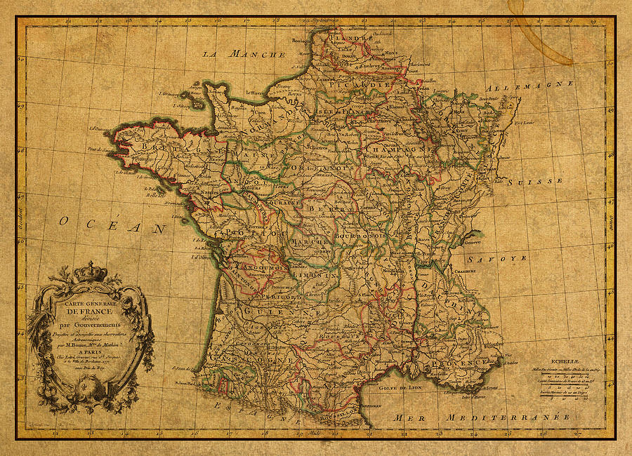 Vintage Map Of France Old Schematic Circa 1771 On Worn