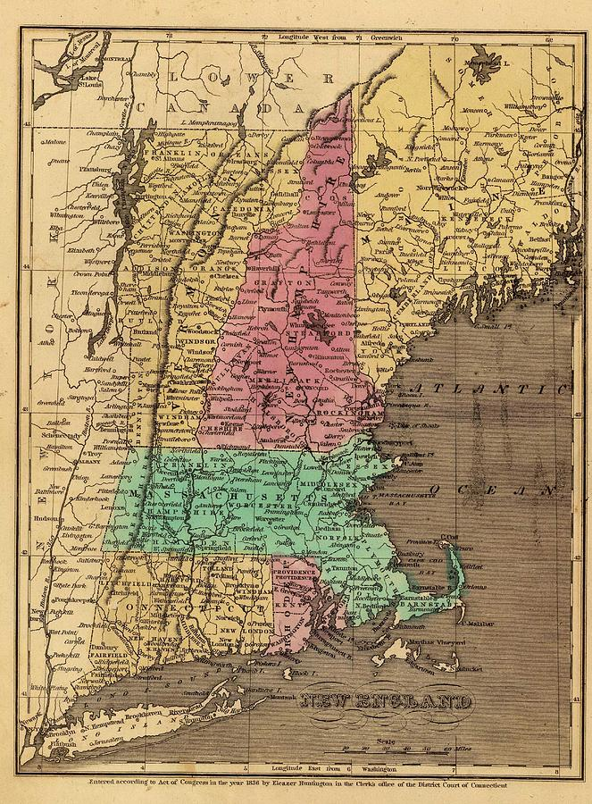Vintage Map Of New England 1836 Drawing By