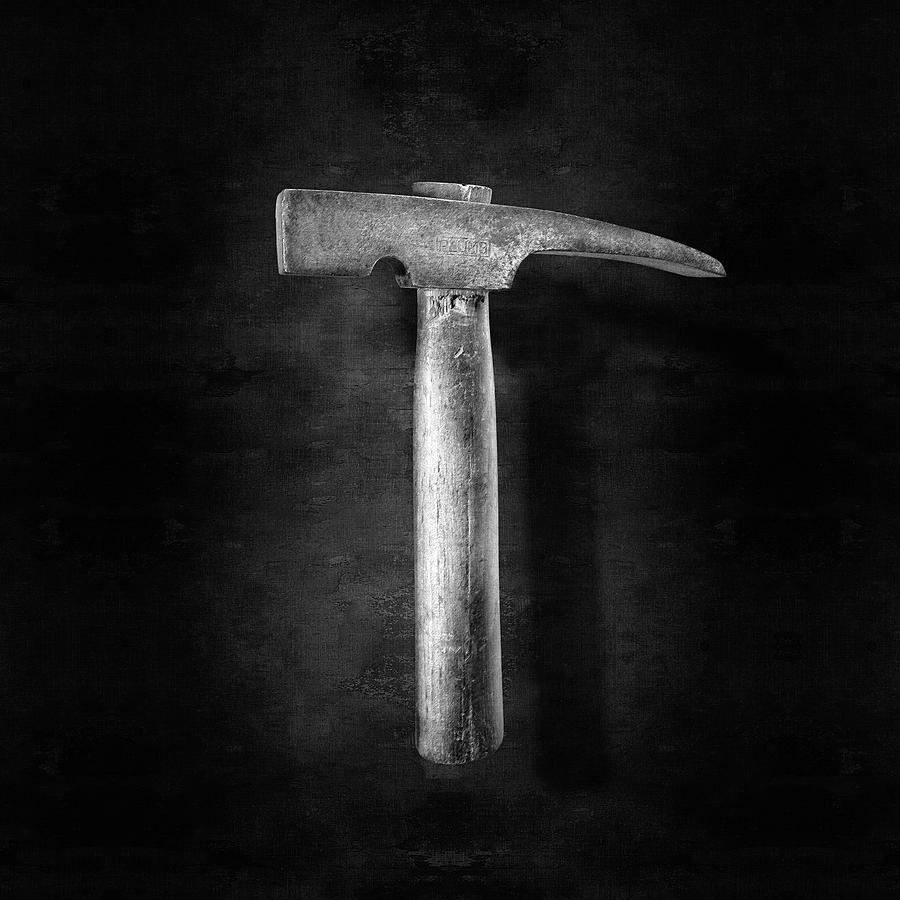 Vintage Masonry Hammer In Bw Photograph