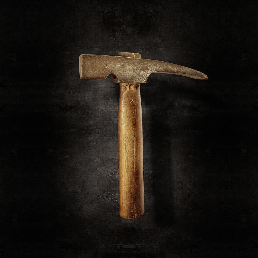 Vintage Masonry Hammer On Black Photograph