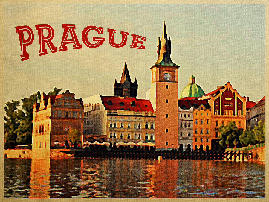 Prague Digital Art - Vintage Prague by Flo Karp