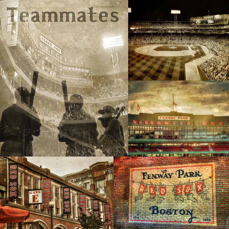Vintage Red Sox Fenway Park Baseball Collage Photograph By