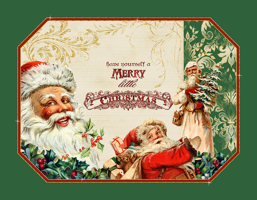 Vintage Santa Claus - Glittering Christmas 3 Painting by ...