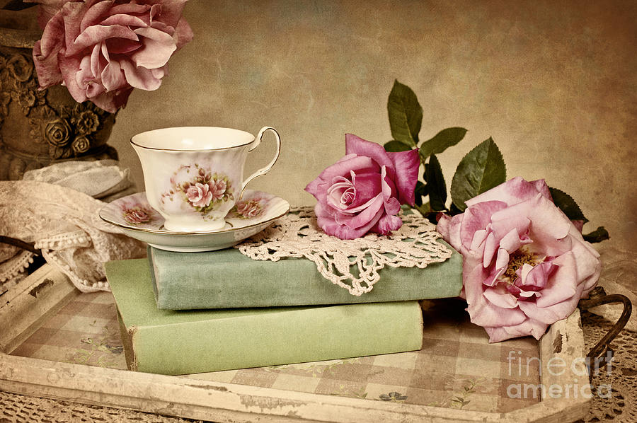 tea set vintage roses wallpaper - photo #37