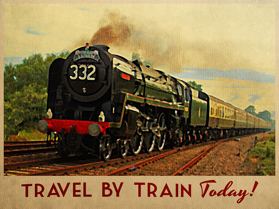 Vintage Travel By Train Vintage Train Poster