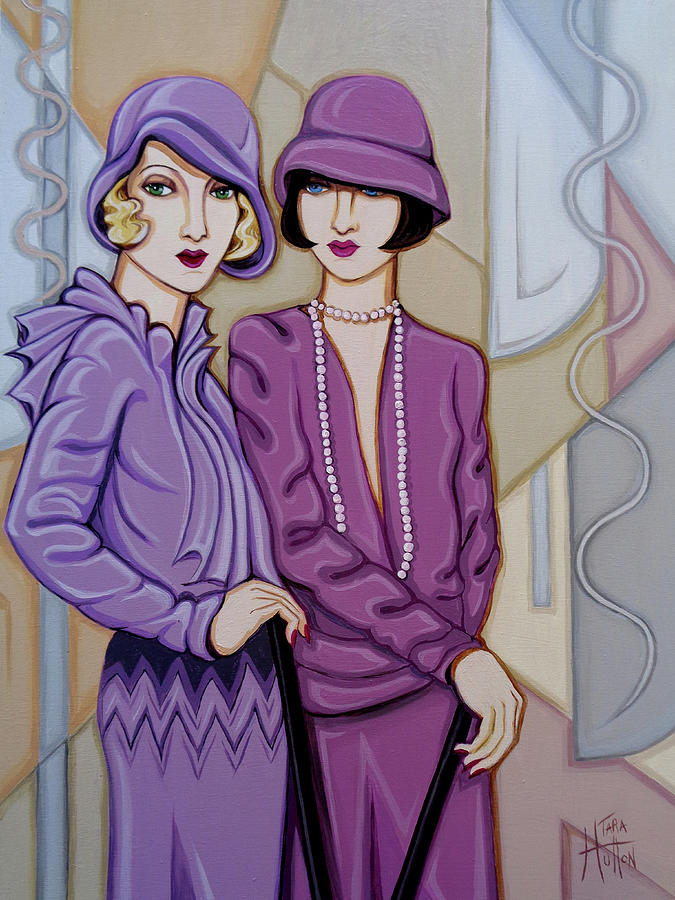 Flappers Painting - Violet And Rose by Tara Hutton